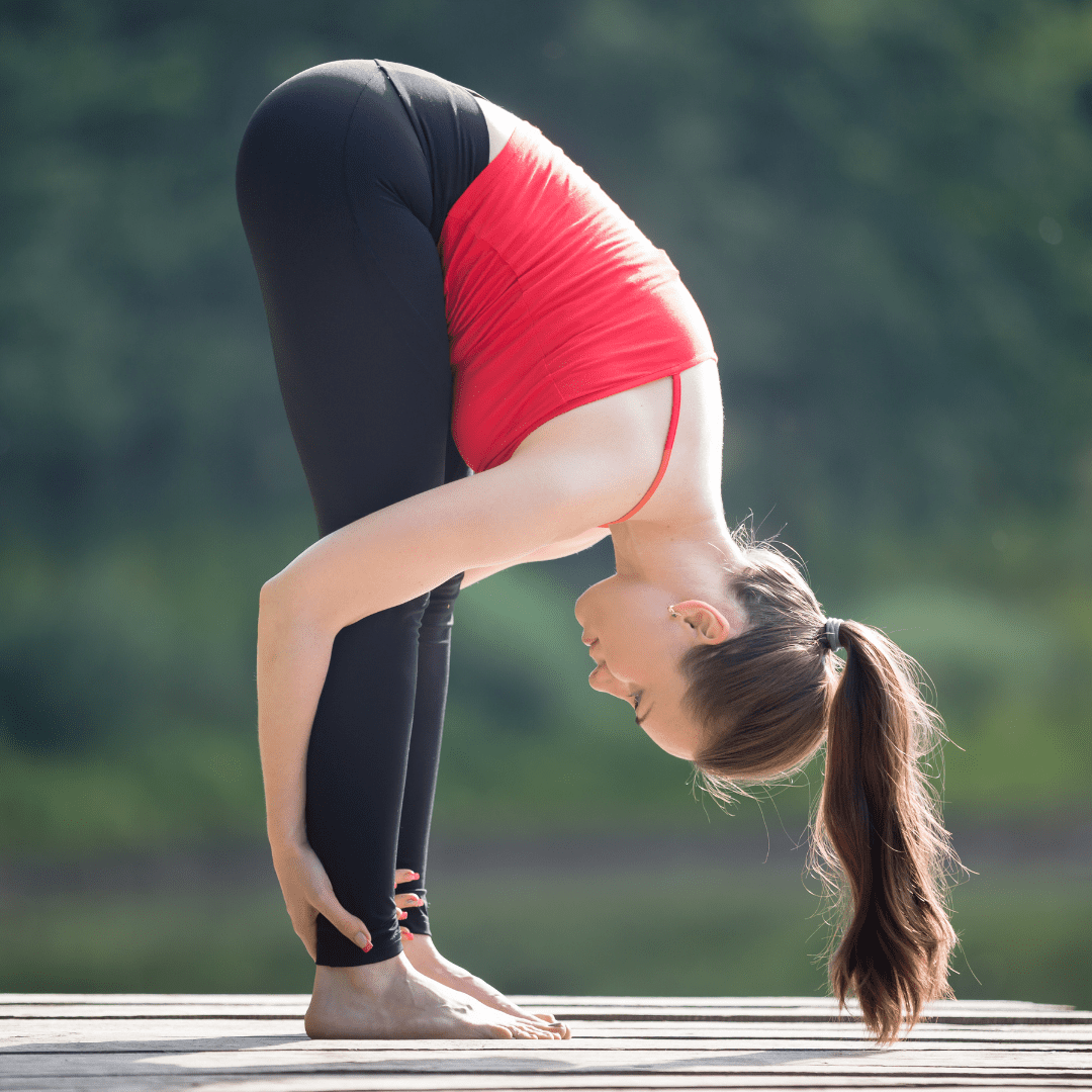 Standing Forward Fold Pose (Uttanasana) can help with the treatment of hair loss